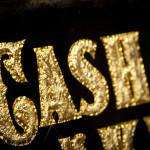 "Blattgold GlueChipped Schild ""Cash is King"""